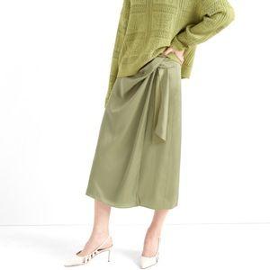 CLUB MONACO Midi Wrap Skirt In Green